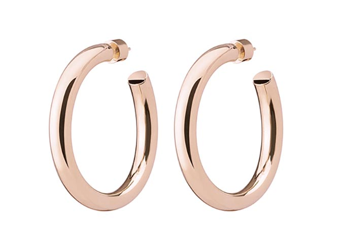 "Jennifer Fisher 10K Pink Gold Plated Brass, 1.5"" Baby Samira Hoops, $350"