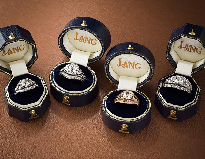 Engagement ring and wedding band sets from Lang Antiques. Photo courtesy
