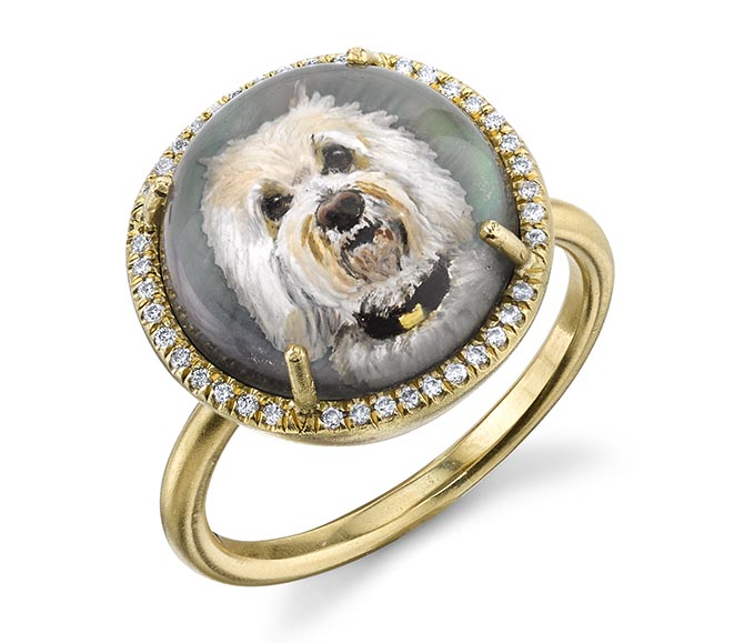 Irene Neuwirth one-of-a-kind Teddy 18K gold ring with a carved crystal and diamond. Photo courtesy