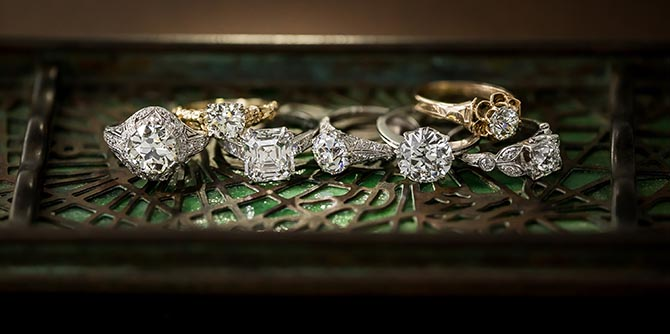 Vintage engagement rings from Lang Antiques. Photo courtesy