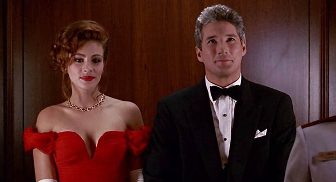 Richard Gere with Julia Roberts who is wearing a $250,000 ruby heart and diamond necklace from Fred in 'Pretty Woman.' Photo Touchstone Pictures