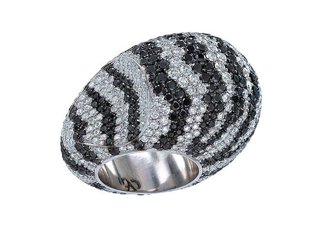 Jacob & Co. Zebra Dome Ring, featuring: 9.48 carats of black diamonds and 7.46 carats of white diamonds. In 18K white gold, $39,000
