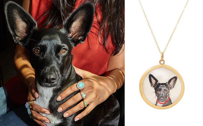 Fox & Bond custom hand painted portrait necklace and the delightful subject of the jewel. Photo courtesy