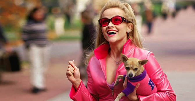 Reese Witherspoon as Elle Woods wearing diamond studs and a solitaire necklace while holding her Chihuahua, Bruiser Woods, in 'Legally Blonde.' Photo MGM
