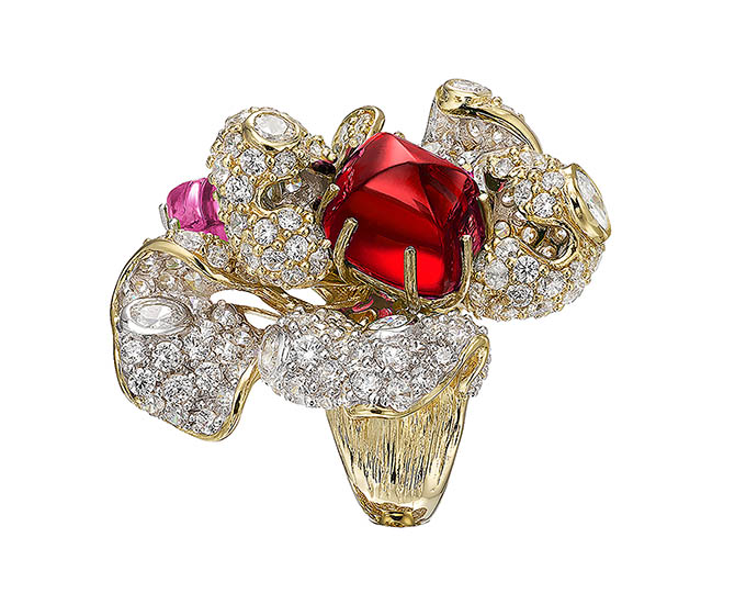 Anabela Chan 18ct yellow and white gold vermeil, ruby of 6 carats, two prong-set ruby and pink sapphire custom- cut cabochons, and 184 hand-pave set lab-grown white diamonds with a total weight of over 16 carats; approximately $1,800