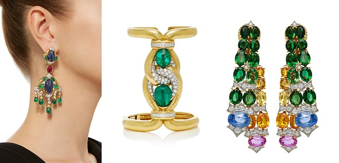 David Webb One-of-a-kind Couture earrings, one-of-a-kind 18K gold Sleeve bracelet with diamonds and approximately 40-carats of emeralds and one-of-a-kind Streamer earrings.