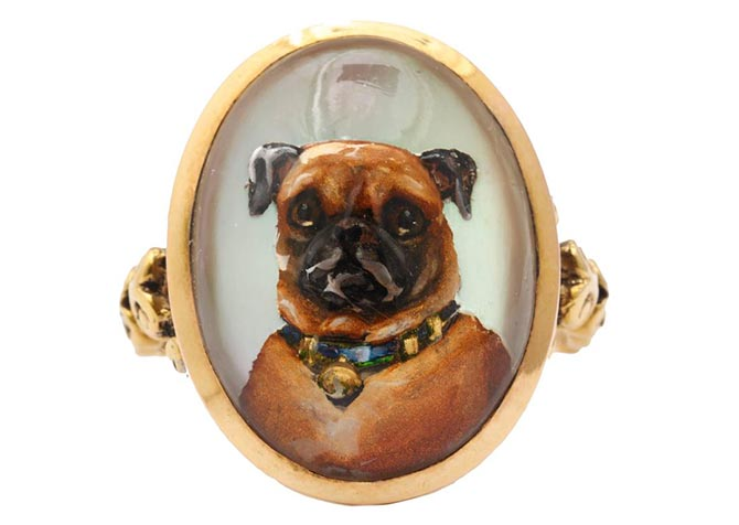 Pug reverse crystal Victorian intaglio 10K gold ring, circa 1870