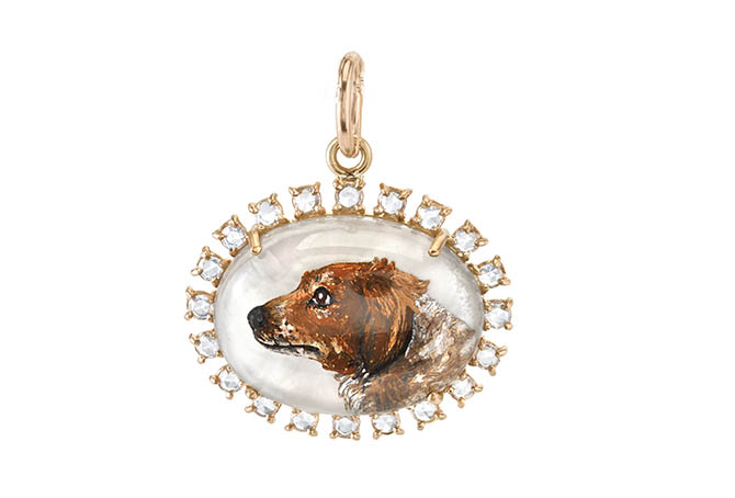 Irene Neuwirth one-of-a-kind Cidney Pumpkin 18K rose gold pendant with carved crystal mother-of-pearl and rose-cut diamonds. Photo courtesy