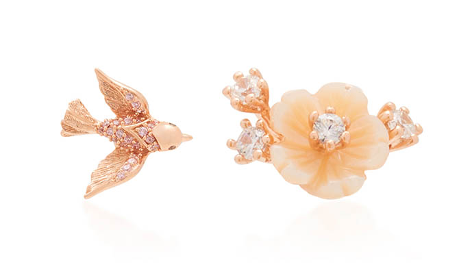 Anabela Chan Rose Swallow Mismatched Mother of Pearl, 18K Gold Studs, $496
