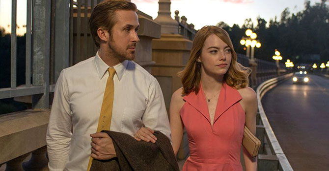 Ryan Gosling and Emma Stone wearing her Kyle Chan necklace in la La Land. Photo Lions Gate
