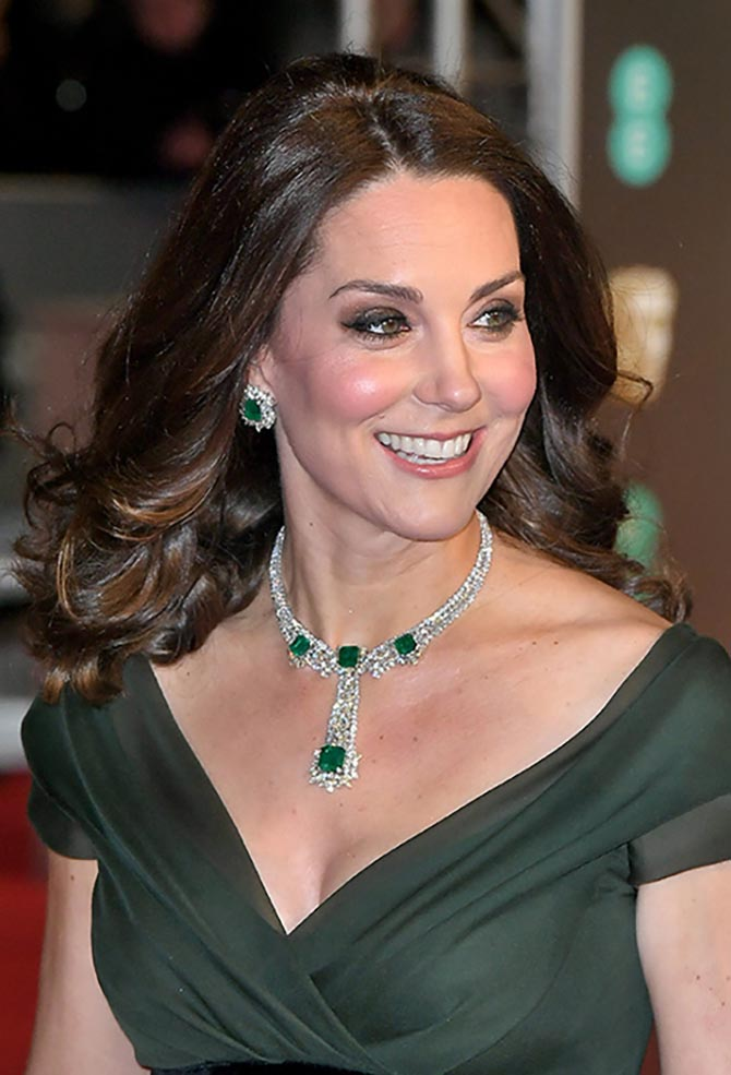 Kate Middleton in her emerald and diamond suite at the 2018 BAFTAs. Photo Getty