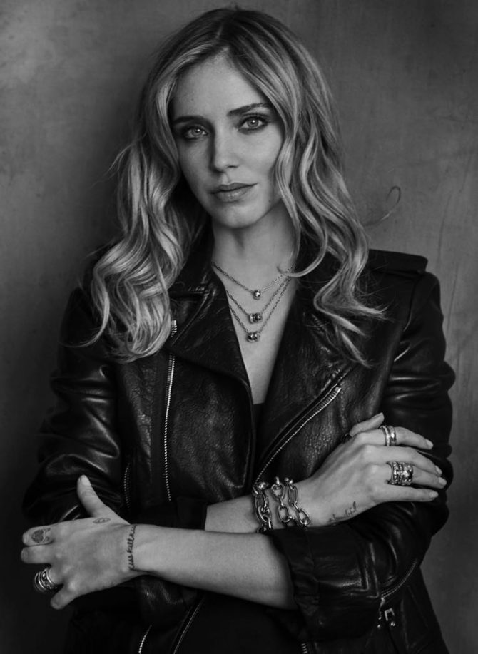 Peter Lindbergh shot of Chiara Ferragni wearing jewels from Pomellato's Iconica collection. Photo courtesy