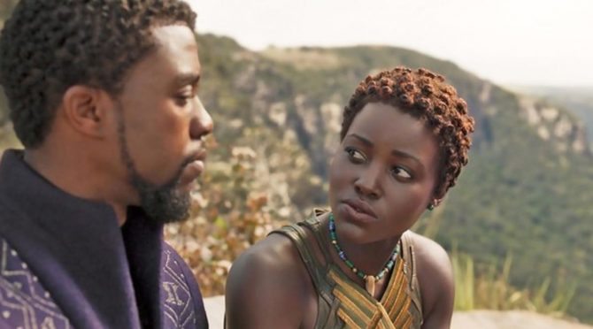 King T'Calla (Chadwick Boseman) with Nakia (Lupita Nyong'o) who is wearing her bead necklace. Photo Marvel Studios