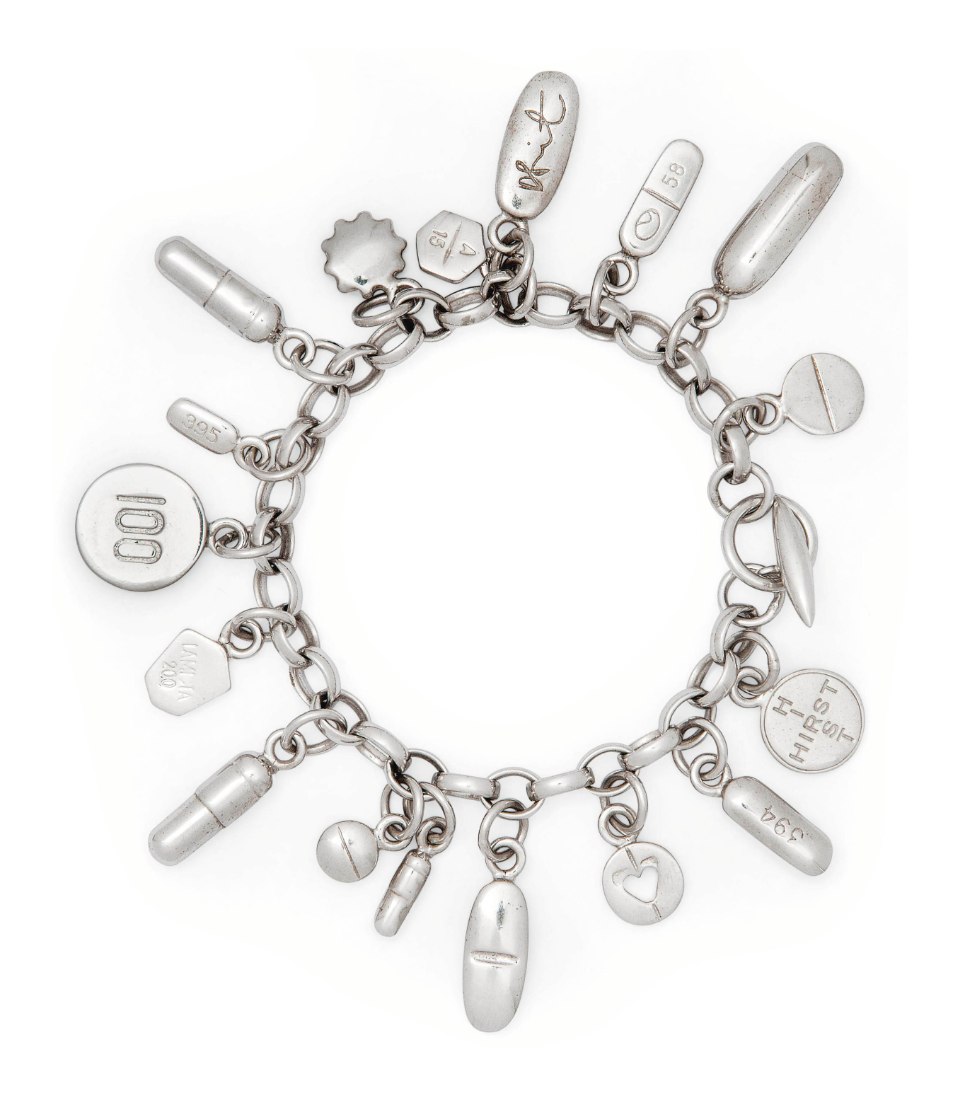 Damien Hirst silver Pharmaceutical Pill Charm bracelet. Photo Christie's