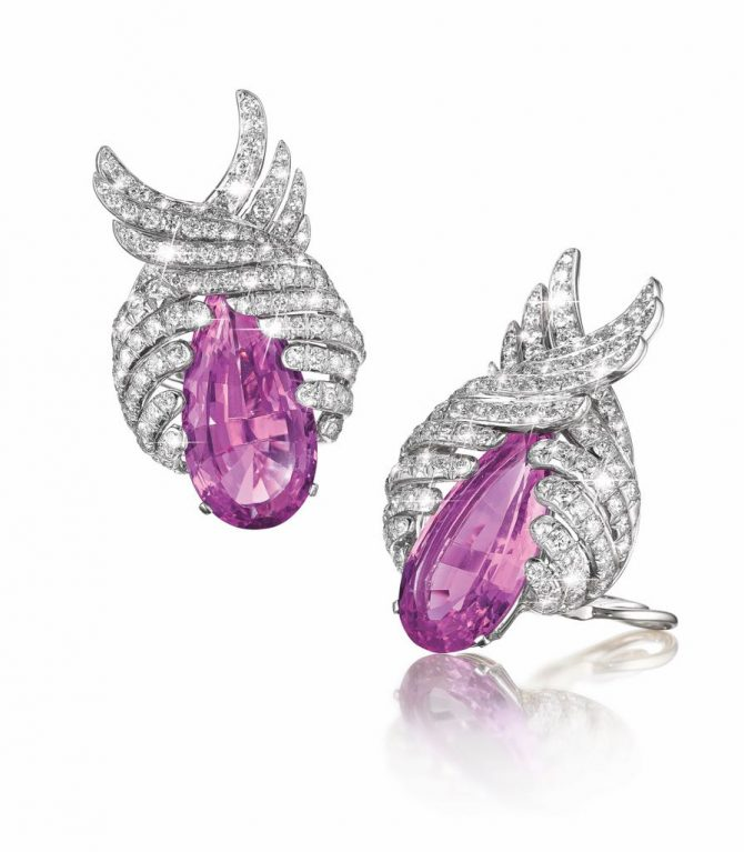 Vintage Verdura pair important pink topaz and diamond earclips composed of platinum and set with two pear-shaped faceted precious pink topaz, and round diamonds.