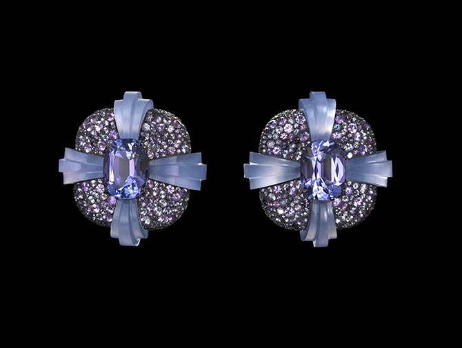 Tanzanites, spinels, chalcedony, silver and gold Torus Earrings by Lauren Adriana Photo Richard Valencia © Lauren Adriana