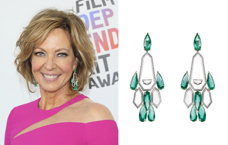 Allison Janney in Nikos Koulis emerald, diamond and transparent enamel earrings at the 2018 Film Independent Spirit Awards. Photo Getty and courtesy