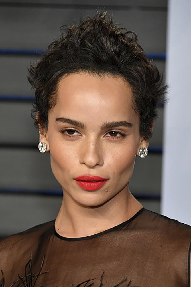 Zoe Kravitz in diamond studs by Lorraine Schwartz