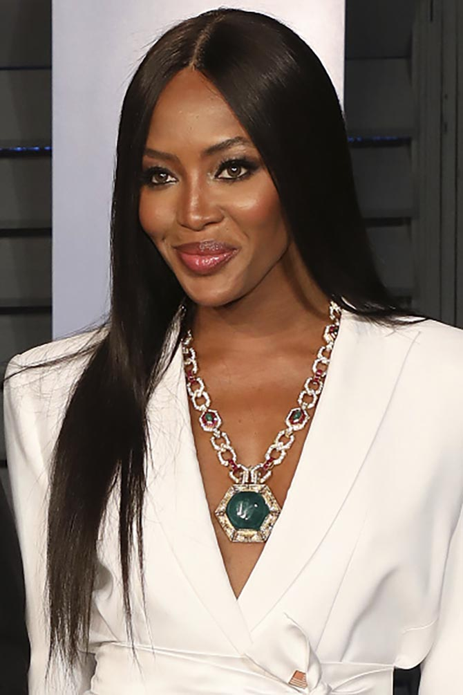 Naomi Campbell in a vintage Bulgari necklace made around 1970.