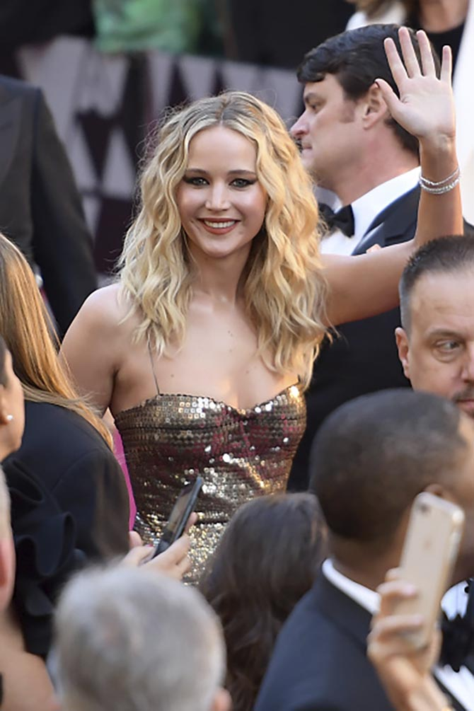 Jennifer Lawrence in diamond bracelets by Niwaka