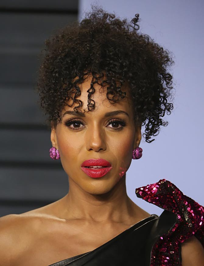 Kerry Washington in ruby Knot earrings by Lorraine Schwartz.