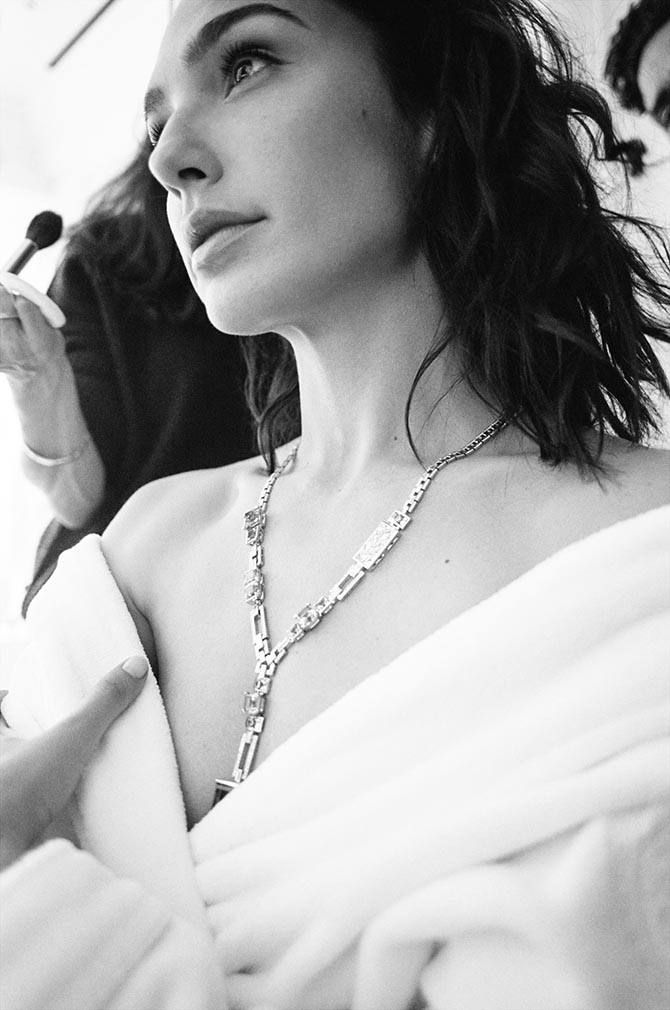 Gal Gadot getting ready for the Oscars wearing the Tiffany aquamarine, diamond and platinum necklace. Photo Renell Medrano