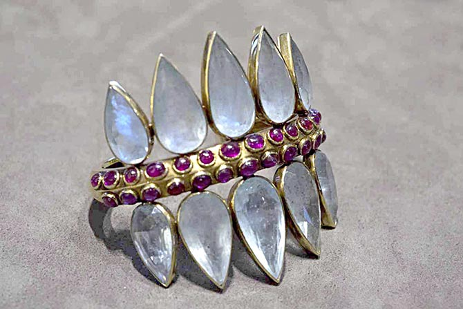 Vintage Belperron aquamarine, ruby and gold cuff. Photo by Sally Davies