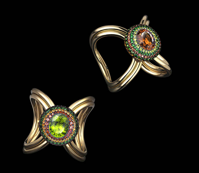 Peridot, tourmaline, spinel, garnet, silver and gold XO Cuffs by Lauren Adriana Photo Richard Valencia, © Lauren Adriana