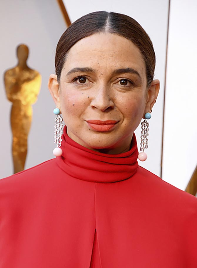 Maya Rudolph in diamond, turquoise and coral earrings by Irene Neuwirth