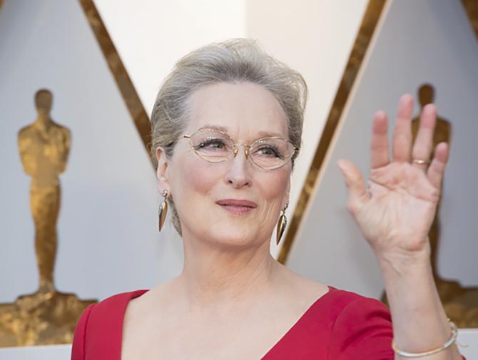 Meryl Streep in vintage gold earrings by Fred Leighton