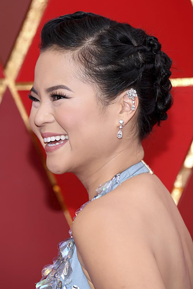 Presenter from 'Star Wars,' Kelly Marie Tran in diamond earrings from Chopard.