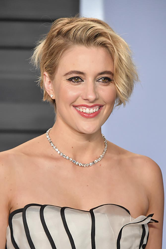 Greta Gerwig in a diamond necklace by Tiffany.