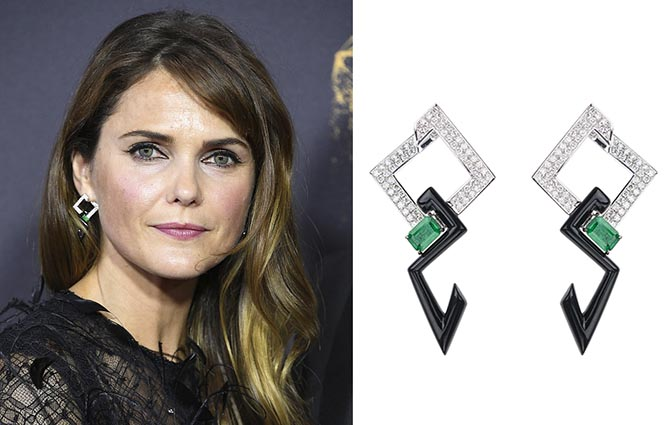 Keri Russell in Nikos Koulis diamond, emerald and black enamel earrings at the 69th Annual Primetime Emmy Awards