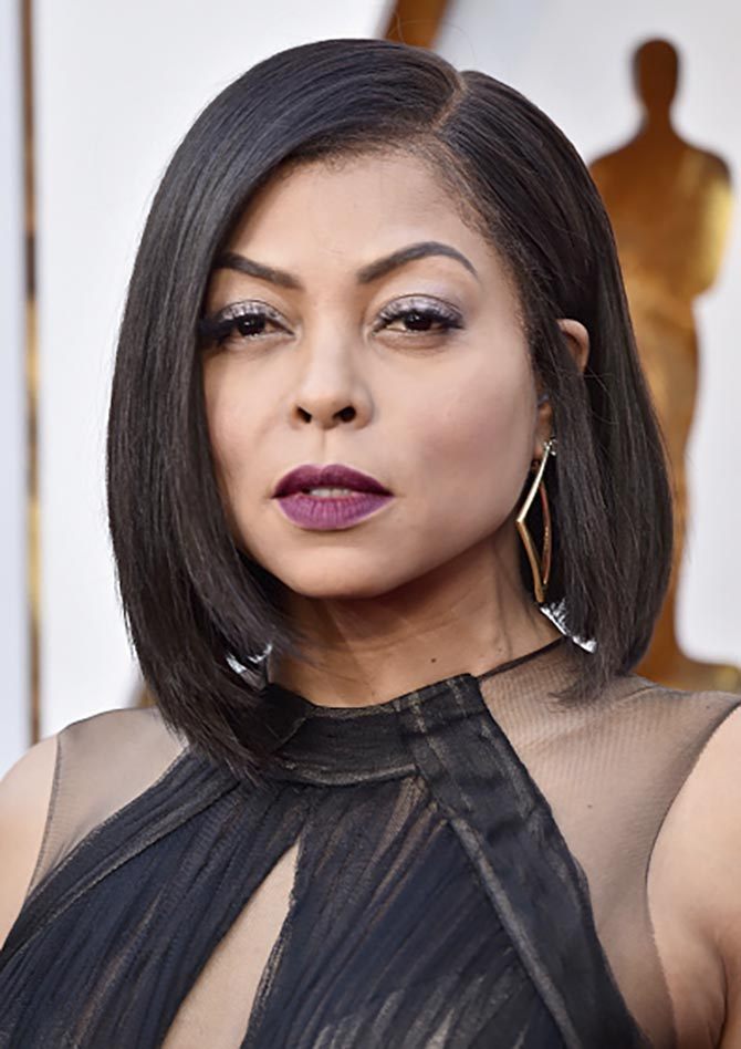 Taraji P. Henson in gold and diamond earrings by Roberto Coin