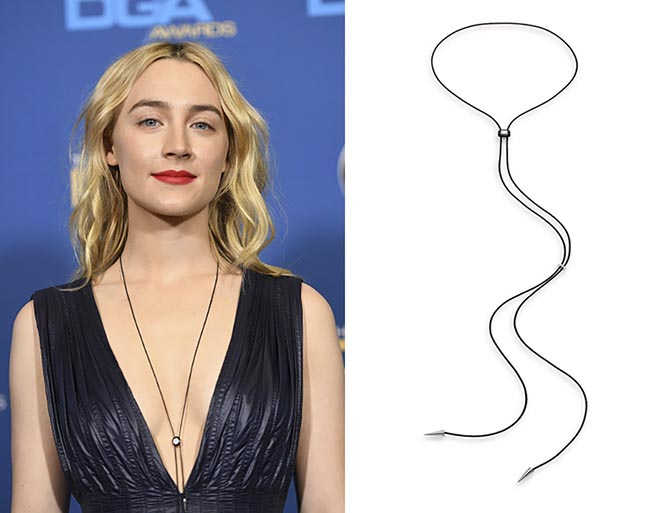 Saoirse Ronan in a Nikos Koulis diamond, enamel and cord bolo necklace at the 2018 DGA Awards