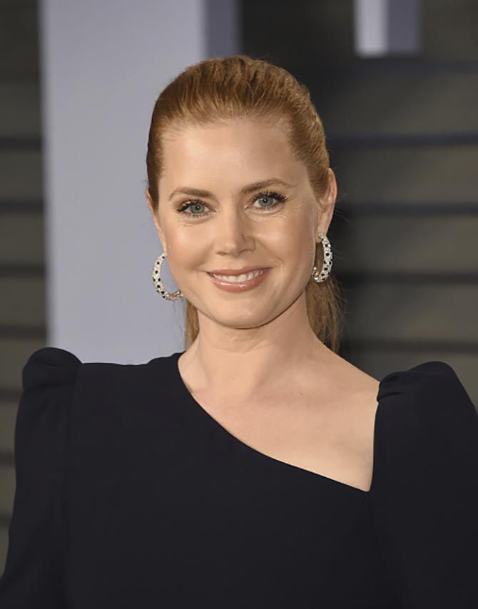 Amy Adams in diamond hoops by Cartier