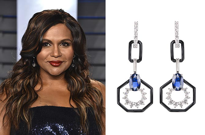 Mindy Kaling in Nikos Koulis earrings at the the 2018 Vanity Fair Oscar Party.