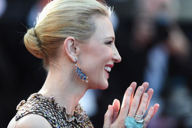 Cate Blanchett in Chopard jewels at the 2010 Cannes premiere of 'How to Train Your Dragon.'