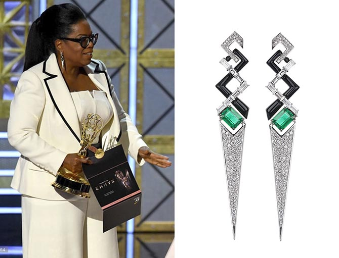 Oprah Winfrey in Nikos Koulis diamond, emerald and black enamel earrings at the 2017 Emmy Awards. Photo Getty and courtesy