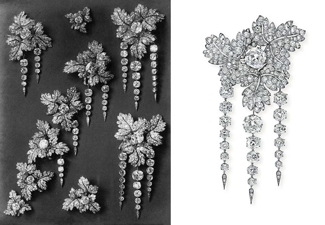 All of Empress Eugénie's currant leaf corsage ornaments shown in the catalogue and the segment sold at Christie's in 2014. Photo Christie's