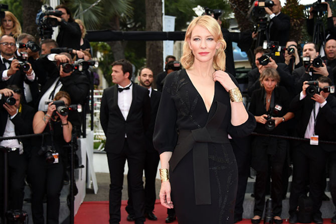 "CANNES, FRANCE - MAY 19: Cate Blanchett in Van Cleef & Arpels vintage hammered gold cuffs at the ""Sicario"" Premiere during the 68th annual Cannes Film Festival on May 19, 2015 in Cannes, France. (Photo by Venturelli/WireImage)"