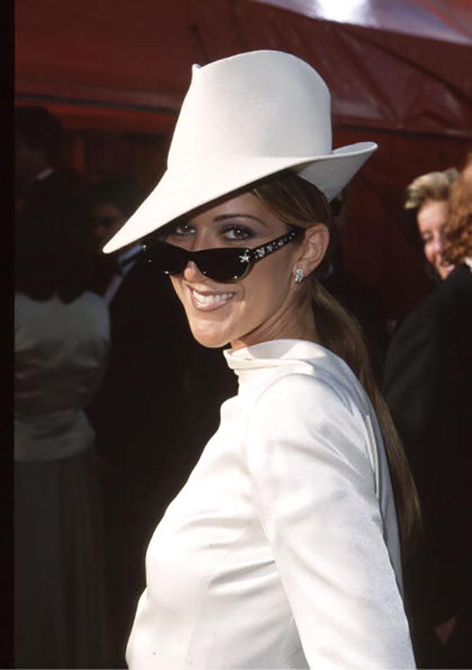 Celine Dion at the Oscars in diamond Ray Bans by Martin Katz