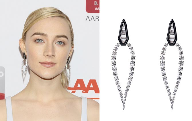 Saoirse Ronan in Nikos Koulis diamond and black enamel earrings at the AARP's 17th Annual Movies For Grownups Awards