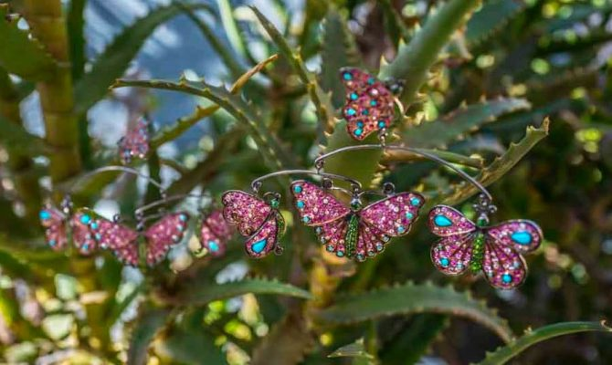 Pink sapphire, turquoise, diamond, silver and 18K gold Butterfly Mobile earrings by Sylvie Corbelin Photo by Sally Davies