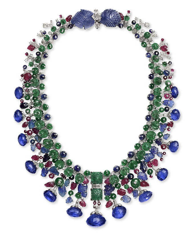 Cartier Tutti Frutti emeralds, rubies, sapphires and diamonds in platinum and gold necklace made for Daisy Fellowes in 1936 (altered in 1967). Photo Nils Herrmann, Cartier Collection © Cartier
