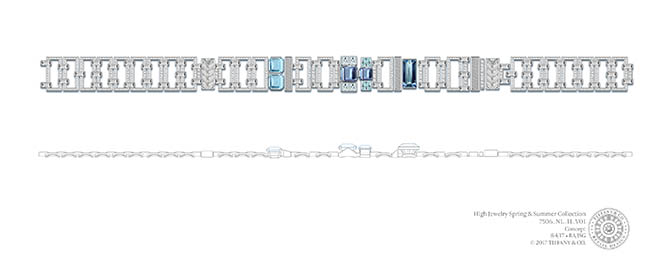 Rendering of Tiffany aquamarine, diamond and platinum choker. Photo Tiffany