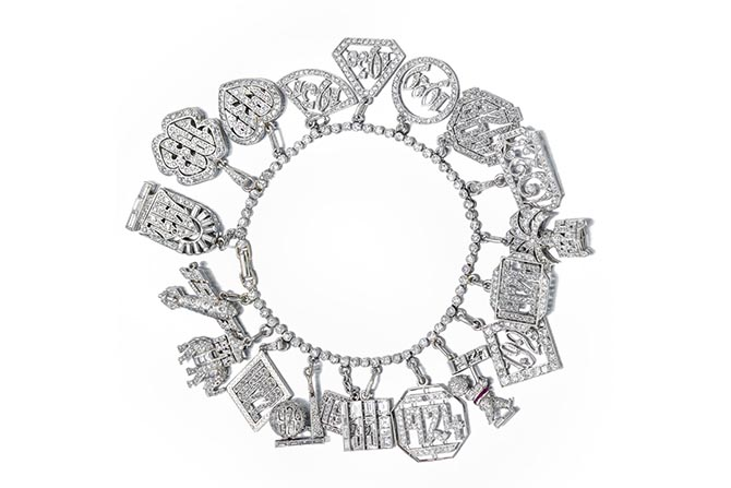 Lot 59 Art Deco charm bracelet, estimate $12,000-$18,000 Photo Bonhams