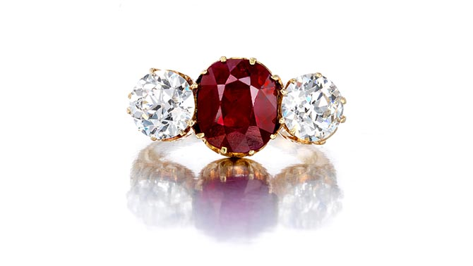 Lot 65, A ruby and diamond ring, Mermod & Jaccard, circa 1895, estimate $80,000-120,000 Photo Bonhams