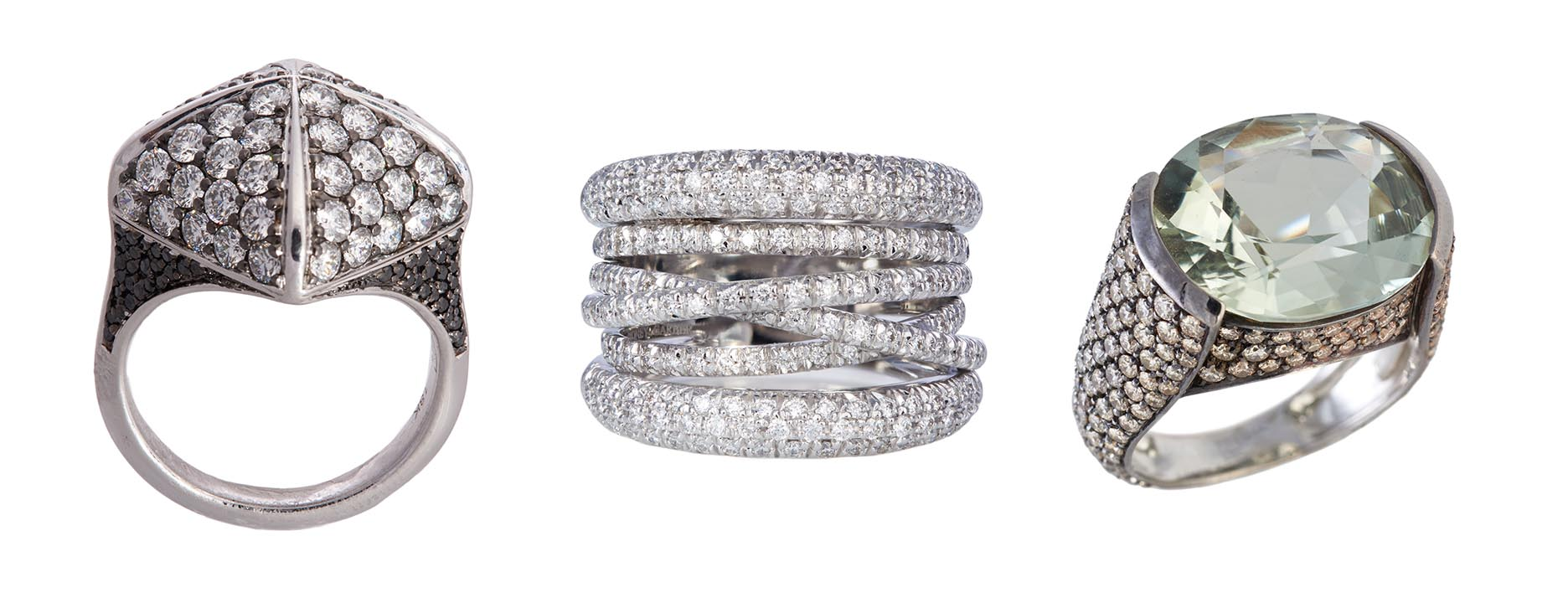 Other Sidney Garber rings sparkling on Bread Face's fingers include 18K white gold, black and white diamonds Pyramid Ring with a dark rhodium finish, 18K white gold and diamond Scribble Ring and 18K white gold, mint tourmaline and cognac diamond Well Tailored Ring with a dark rhodium finish