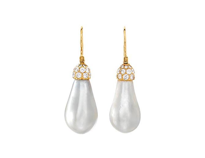 Lot 86: A pair of natural pearl and diamond earrings, Harry Winston Photo Bonhams